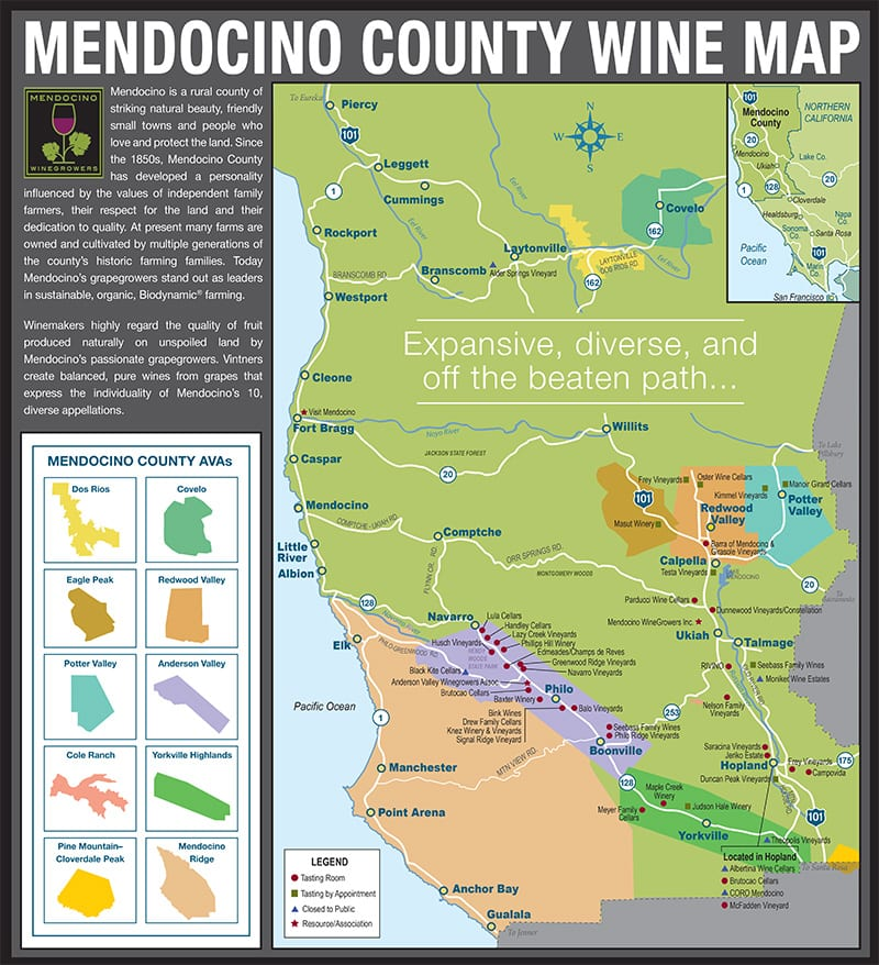 Mendocino County Appellations Map